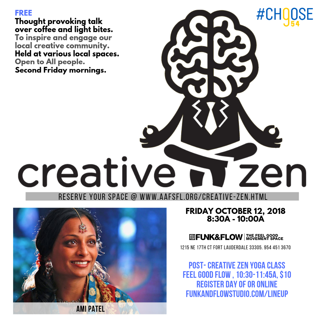AAF CreativeZen was born out of a desire for the local AAF Greater Fort Lauderdale & the Palm Beaches chapter of the American Advertising Federation & Choose954 to inspire and engage with our local creative community.  Every Creative Zen event includes coffee and breakfast bites before a short inspiring and thought provoking talk during the  second Friday morning of the month.   All Creative Zen events are  free of charge  and  open to the community , being creative or a member of the Advertising Federation is not required! #AAFCreativeZen