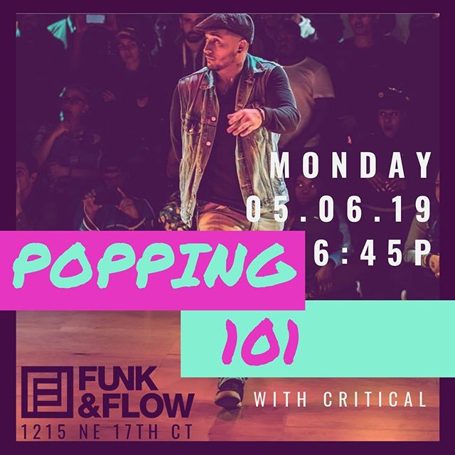 "GUYS & GALS!! THIS MONDAY ONLY @ 6:45P!! WE'RE HOSTING A POPPING 101 - POP UP CLASS !! .  Check out @itz_critical do his thang and GET READY to learn, ""hit,"" groove + sweat !!! This class will be a ton of fun and is open to everyone, all-levels of funky feets. .  Pre-register or show up @ the 🚪 Regular studio rates apply.  To our Belly Gals - class is canceled this Monday night ONLY. 🙏🏽💃🏻❤️"