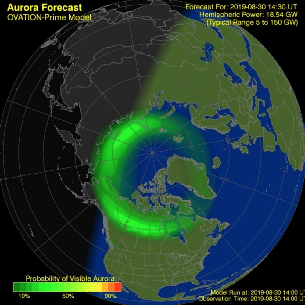 Predicted Geomagnetic activity from Aurora Service