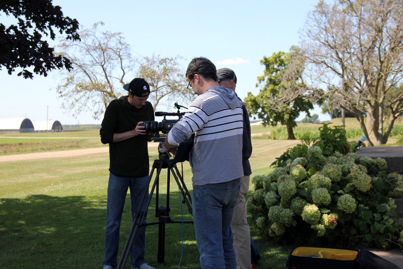 Setting up to shoot our farm across the road.