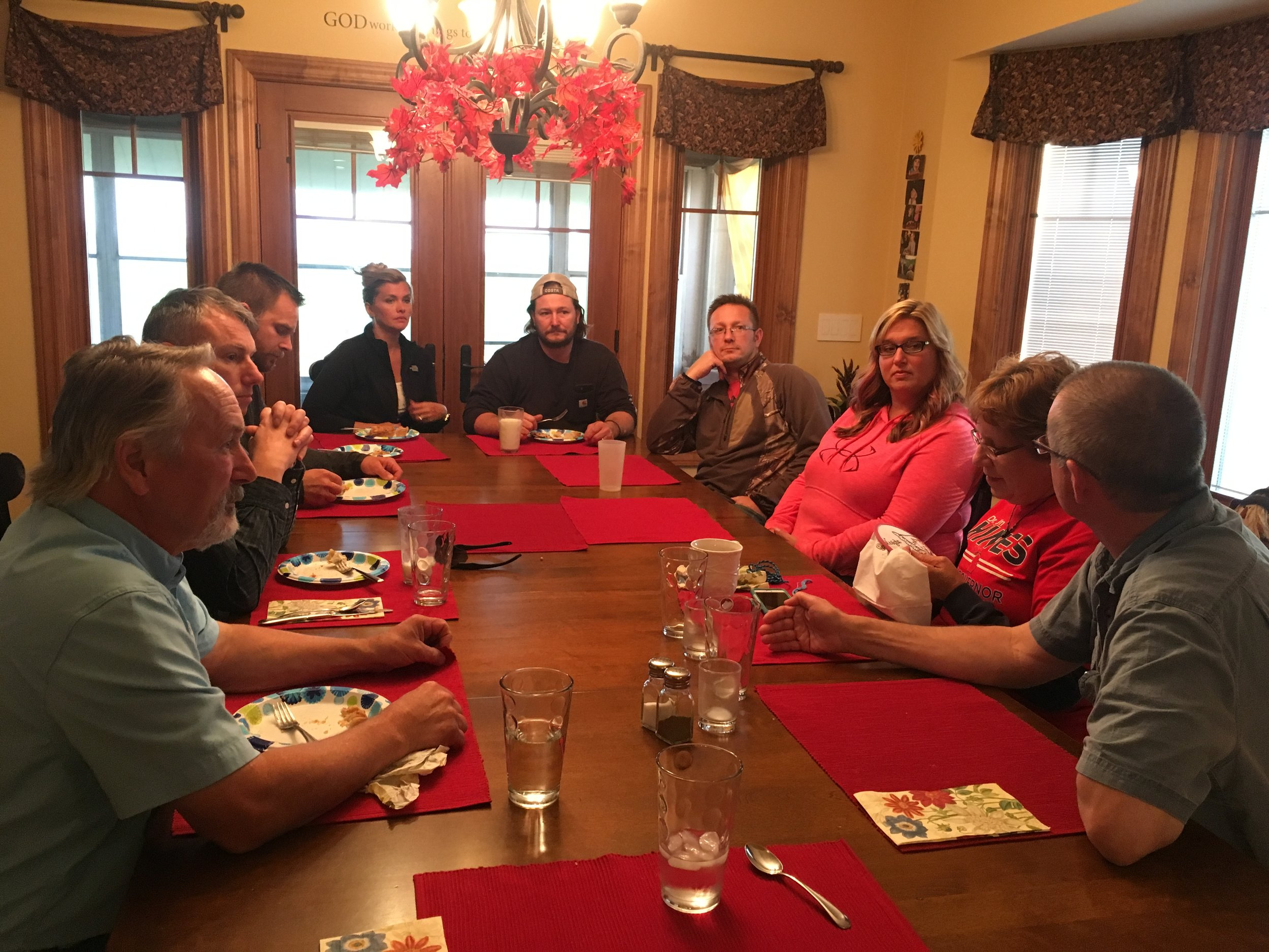 I had the privilege of making supper for Dr. Jim Hines, his wife Martha and their driver Matt. After dinner the rest of the family came for dessert and a time of chatting with Dr. Hines - asking questions and sharing concerns.
