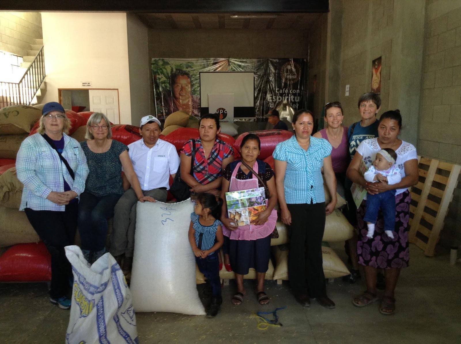 With the bags of coffee: Brenda, Jody, Jacinto, Orfa,Fabiana, Sonia, Sue, Donna, Maria Luz
