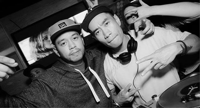 DJ Thera-P rockin' with the champ last month at @OddThomasBar 💥 Happy belated birthday DJ Dopey 🎂 || #TBT #STF #2BB