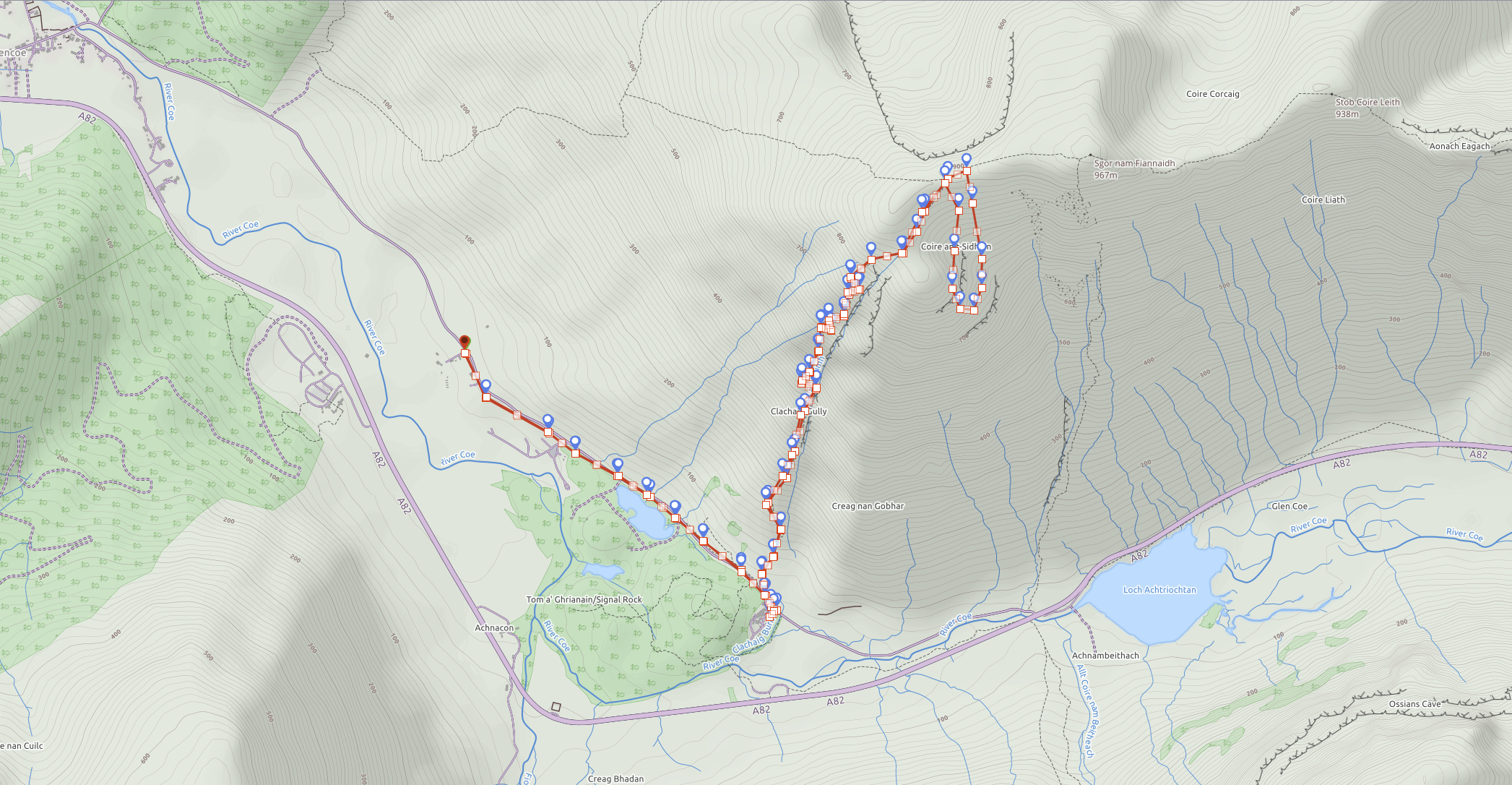 This is not an easy route, requires knowledge of grade 2 scrambling. Avoid is unsure. Click to buy the route.