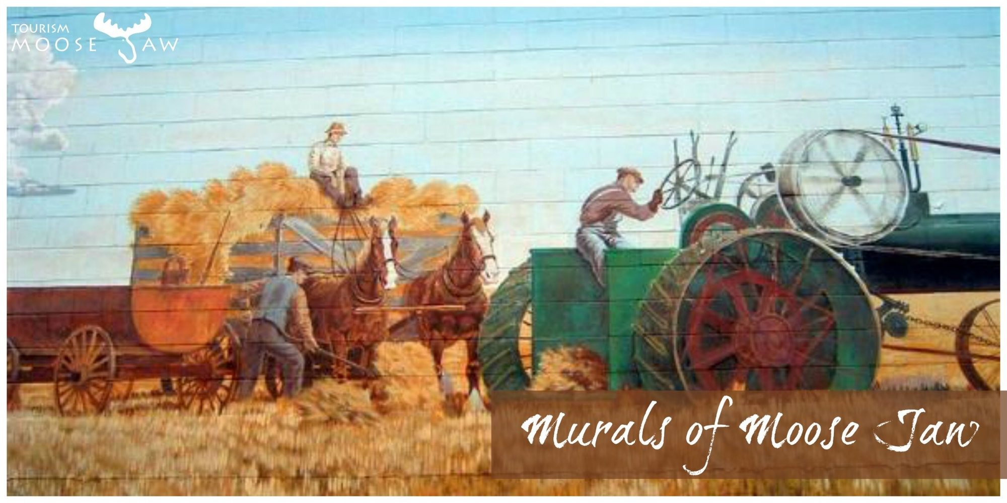 Mural of Moose Jaw  We are known for our larger than life wall paintings here in Moose Jaw. With 48 of these beauties around town we invite you to stretch your legs and find a few in our downtown area.