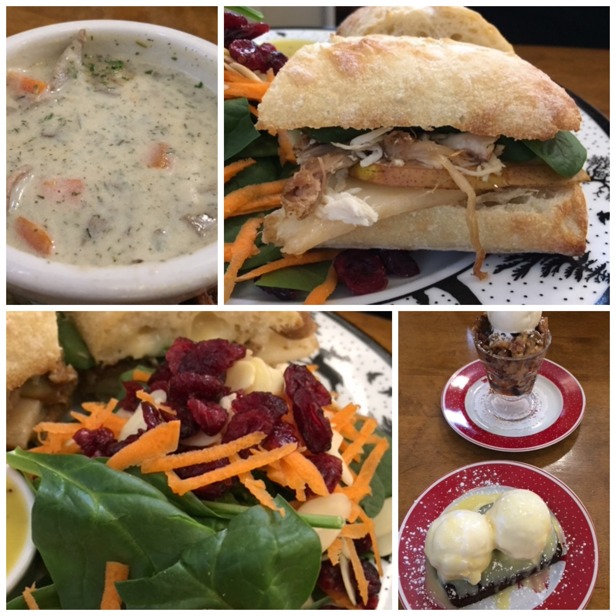 Cream of Mushroom Potato Dill Chowder  Turkey, Brie and Pear with Gravelbourg Mustard Ciabatta  Grandma's Bread & Butter Pudding  Gingerbread with Lemon Butter  Cranberry Almond Spinach Salad