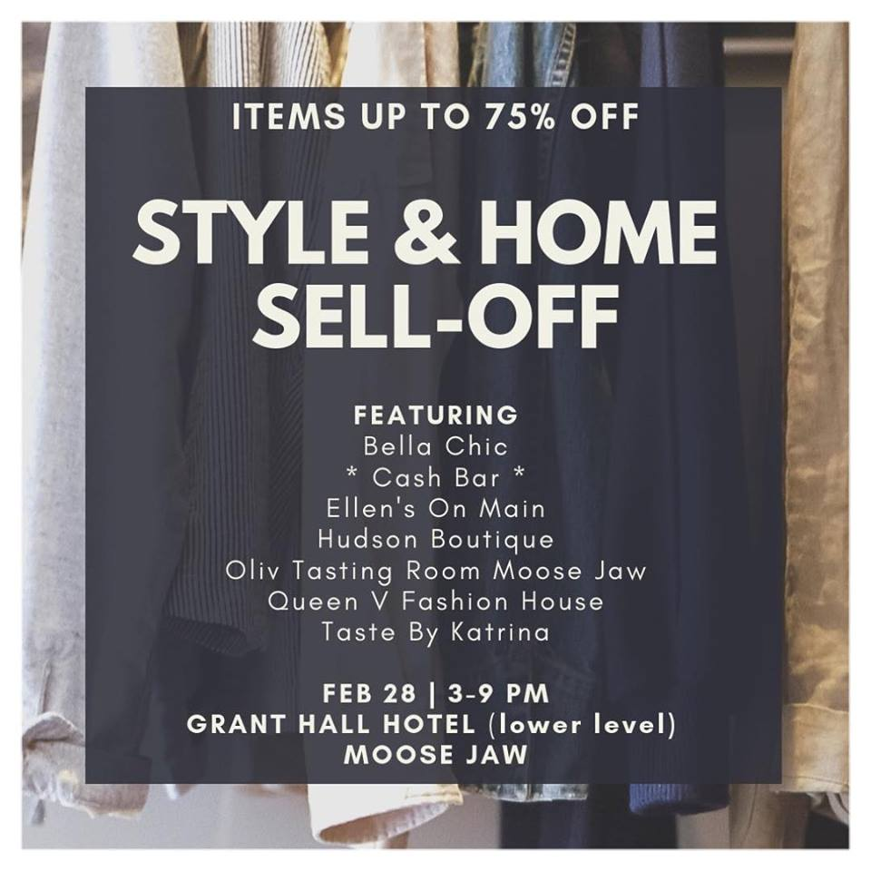 We are coming to see you Moose Jaw! Come join us for a drink and ridiculously crazy sales! Featuring: @bellachic_canada @bellachic_moosejaw @hudsonsboutique @queenvfashionhouse @ellensonmainflowers @tastebykatrina & Olive Tasting Room Moose Jaw GRANT HALL HOTEL (lower level) February 28 3-9 PM