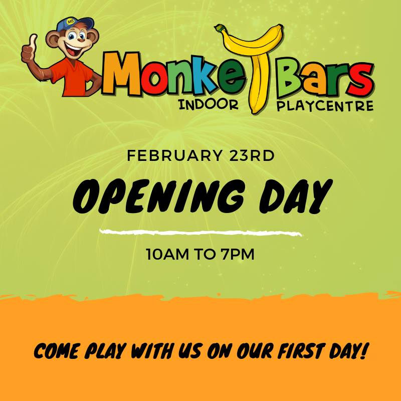 Join us on our first day open, February 23rd 10am to 7pm. Face painting, balloon animals, cafe items and more than enough fun for all the kids.  For admission rates, business hours and birthday party information, please go to the website to learn more:  http://monkeybarsmj.com   *We will be taking birthday party bookings after opening day.