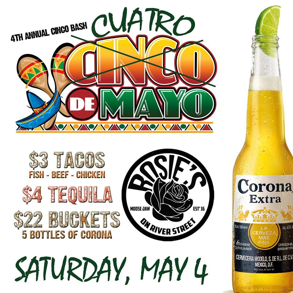 It's the Unofficial start of Summer Every Year - The Cinco de Mayo Patio Bash @ Rosie's.  Once again, we will be Celebrating Mexican Independence with Buckets of Coronas, $3 Tacos & $4 Tequila ALL DAY!!!
