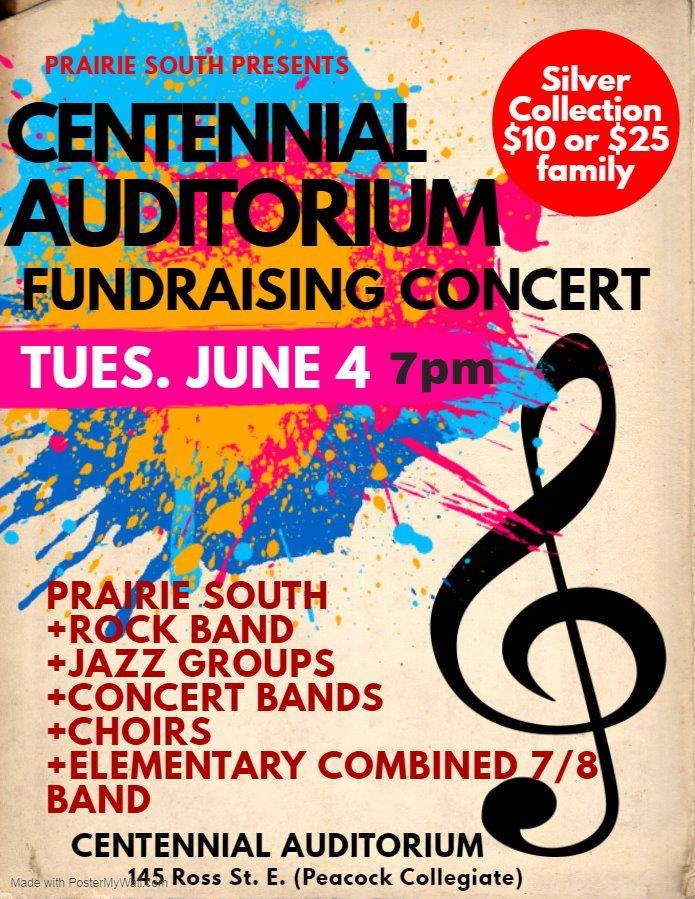 Join us for a Prairie South School division celebration of music in support of the Centennial Auditorium Renewal Project. Music students from Central, Peacock, Riverview and from Palliser, King George, Prince Arthur and William Grayson. Suggested donation of $10 per person or $25 per family will go directly to the Renewal Project. For more information about the project, please visit  https://newseats.ca/