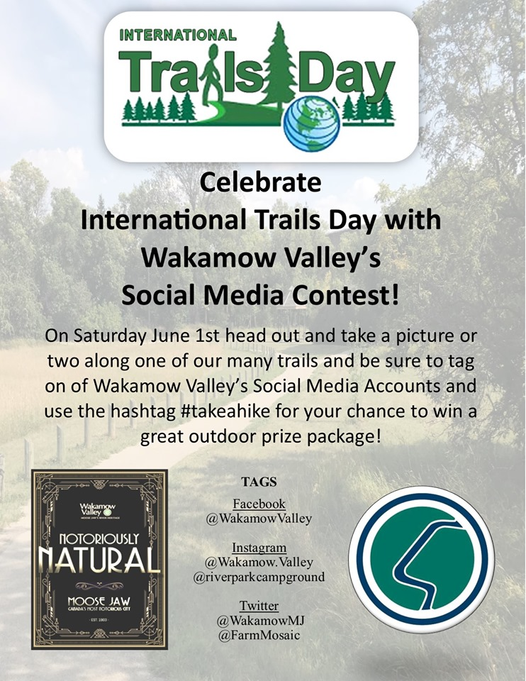 As part of June is Recreation and Parks Month along with International Trails Day we are encouraging you to go and explore one of the many trails in Wakamow Valley.  Take some photos, tag Wakamow Valley, use the Hashtag  #Takeahike  and upload to Instagram, Twitter or Facebook for your chance to win an outdoor prize package.  Only pictures taken in Wakamow and submitted on International Trails Day will be eligible to win.