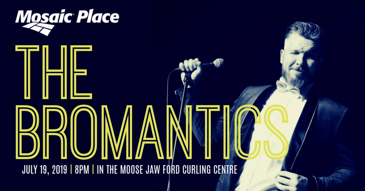 Mosaic Place is pleased to welcome Moose Jaw's own The Bromantics Friday July 19th, 2019. For one night only The Bromanitcs will fill the Moose Jaw Ford Curing Centre with sounds from from Louis Prima to Ben E. King, and everything in between!   These boys are paying tribute to the bands that started it all, AND performing originals to follow suit. The Bromantics are a youthful revitalisation of the 1950's, with brilliant brass tones and doo-wop harmonies they keep the audience screaming for more, The Bromantics are a cross between nostalgia and modern trend, attracting people of all ages.  The songs are timeless and the dances are contagious. The Bromantics' animated performances have proven to fill any size dance floor.  Door will open at 6pm.   Swing lessons available from 6:30 to 7:30pm.   Let the music play with show time at 8pm  General Admission Seating - $25/ticket taxes and fees included  VIP Tables of eight for $250 taxes and fees included. Table will receive a complimentary bottle of wine to start the evening.  Tickets available exclusively through the Mosaic Place Box Office at 306.624.2050 or online at  mosiacplace.ca/tickets .  Summer Box Office Hours  Tuesday to Friday  10am to 4pm  Check them out on youtube   https://www.youtube.com/watch?v=XfLLFiw2VlA