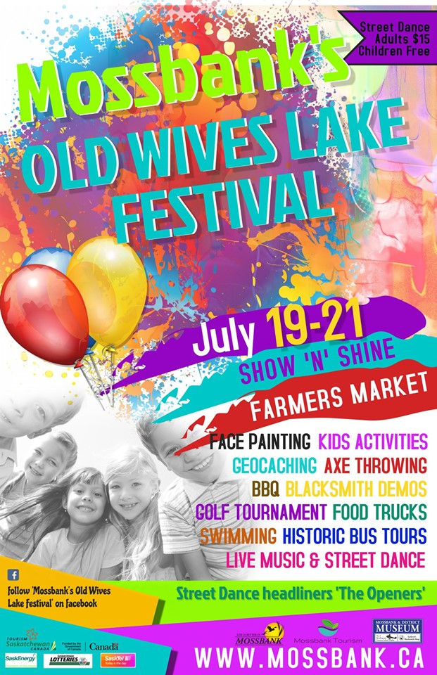 Something for all ages!! Join us in Mossbank for:  Farmers Market  Bounce-A-Lot Inflatables   Lumberjax Axe Throwing Regina   Curbside Games & Mobile Laser Tag  (No Laser Tag) Show N Shine with  Justinsane Barbie Car Club  Historic Bus Tours with Don Smith Blacksmith Demonstrations with Don Fox Museum Tours  Old Wives Watershed Association  Sessions BBQ hosted by  Hickseed Ltd.  (Friday) Golf Tournament Pancake Breakfast (Saturday) Cowboy Brunch (Sunday)  Angry Monkey Cartoonz   JumpaRoo Party Rentals Ltd  Face painting with Katie at  Party with Bears  Catered Supper by  The BENT NAIL CAFE  (Advance tickets only) Tai Chi and dance performances by Moose Jaw Chinese Association Inc. Public Swimming   Street Dance with: The Penalty Box Punks   THE OPENERS   Additional music and entertainment by: Chad Tremblett Brad Finlay (DJ at Show N Shine) Wayne Mitchell  Here is our current list of vendors!   5th Ave Jewelry with Cheryle Donaldson  A Touch of Elegance - Lace & Linens   Brain Freeze ice cream truck  C & L Crafts with Cindy & Les Porter  Crystal Clear 101 Holistic Healing & Product   Double J Gate Closers   Epicure Selections - Kristi Green   Fairy Godmother's Creations   Flax Five  Gemini -  https://www.facebook.com/steppingittothemaxx/    Joyful Java   Expresso Joes Coffee House & Papa John's  Gravelbourg Artisan Co-operative  Happy Hippo Having a Party?  Chelsea Howe - Howe To Heal Holistically   HOWSE of Precious Gems  Howling Hotdogs JuCee Designs -  https://www.facebook.com/groups/207292943012226/about/  Moccasins by Maureen MojiLife with Julia Florell Moose Jaw Transplant Trot -  https://www.facebook.com/groups/1523672811240481/    Muddy Stones   M.A.  (My Addictions)  O's Clean and Green with Norwex   Oliv Tasting Room Moose Jaw   Prairie and Main Cakes, Cookies, and Confections   Rustic Wheat Metals and Design   Sage Valley Farm   Surrayah`s Jewels   Skye's Inspired Designs   Stardust Sensory Toys   Trish's Delish - Sunset Gourmet Independent Team Leader   S