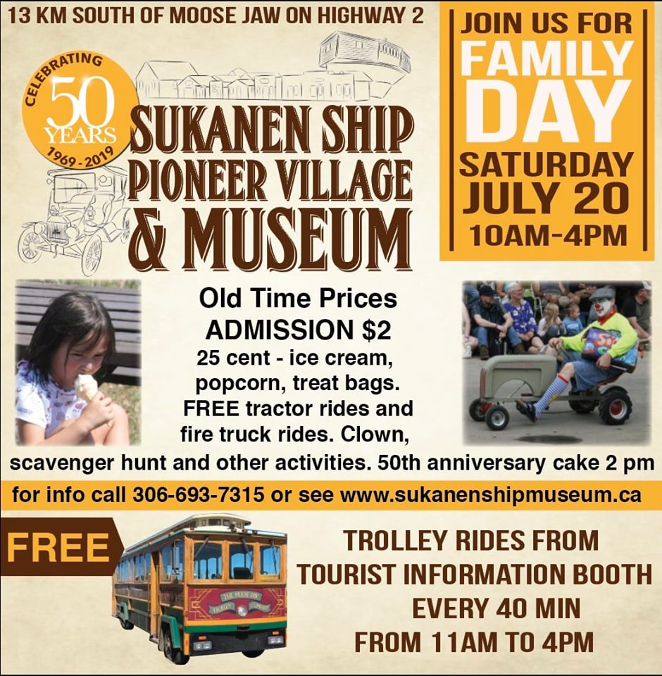 The Trolley will leave Tourism Moose Jaw at 10 am and go back and forth from the Sukanen Ship until it heads out on its last trip at 2:45 pm. It will then return to Tourism Moose Jaw at 4 pm. Ride by donation.