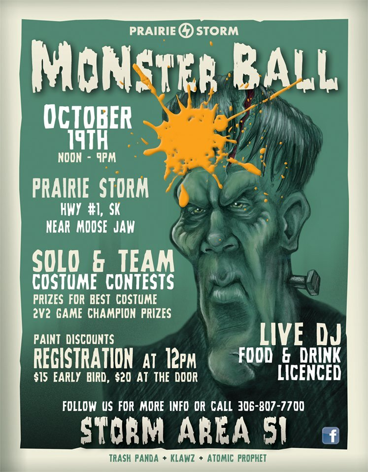 Prairie Storm's second annual Halloween Dress-up event is back!   We will have three main events:  - 2v2 Kings Court - Storm Area 51 - Infected  Live DJ's  Licensed Food and Drinks Darts and Axe Throwing  Prizes throughout the day including best costume and best team costume.  20$ field fee at the door, includes rental gear if needed.  Spectators are welcome at no additional cost.