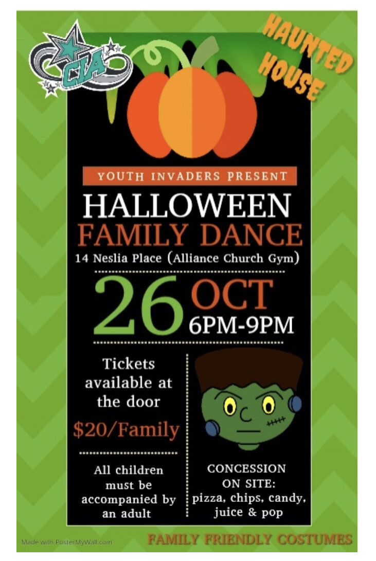 Tickets are $20/family and are available at the door. We have raffle prizes, a haunted house and a fun, family dance. Costumes are encouraged for everyone. Concession available for purchase including pizza, popcorn, chips, pop and juice.