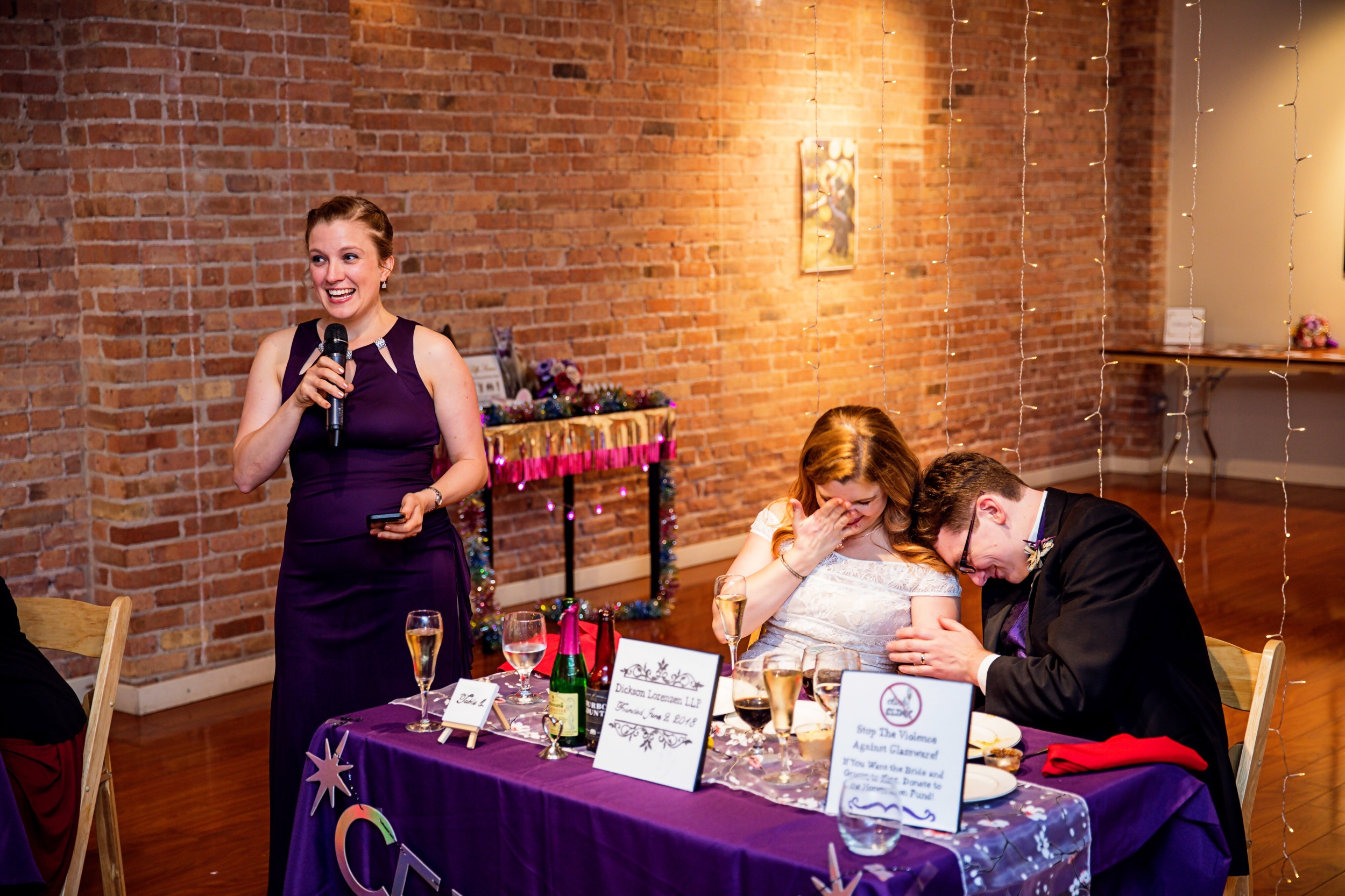 """You can see a photo print in the background of this photo where my sister Karen embarrasses me with a delightful toast talking about my """"don't call me cute!"""" phase from childhood, hah. Photo credit to Kevin Monahan Photography!"""
