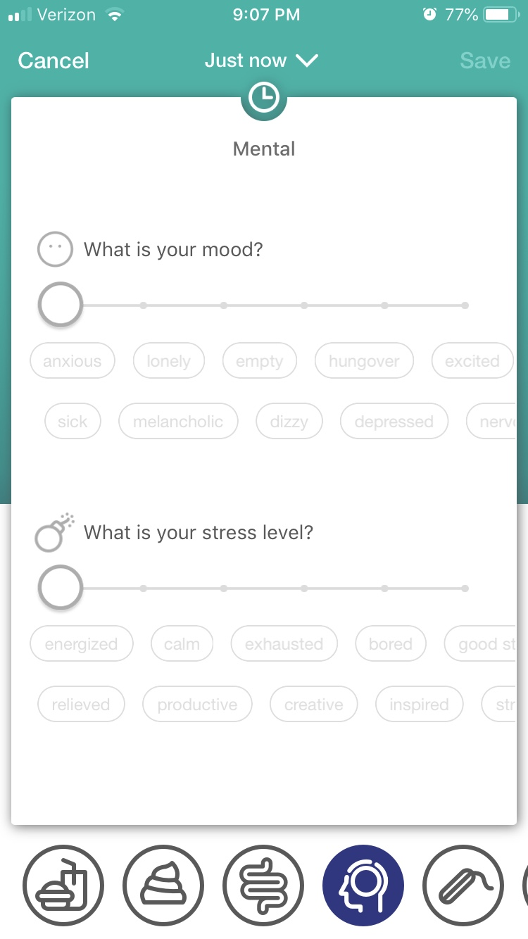 A screenshot of the Cara app I used to track my symptoms.