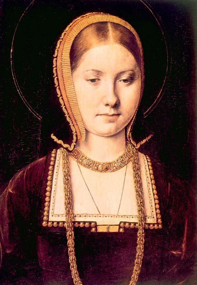 Portrait of a noblewoman, traditionally considered Catherine of Aragon c. 1502 (but also could be Mary Tudor), by Michael Sittow.