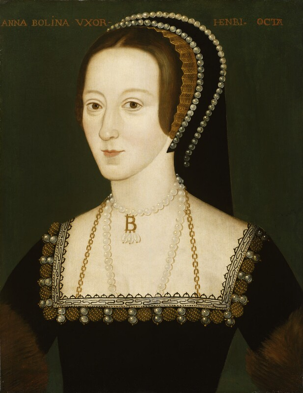 Anne Boleyn, by Unknown English Artist, oil on panel, late 16th century, based on a work of circa 1533-1536