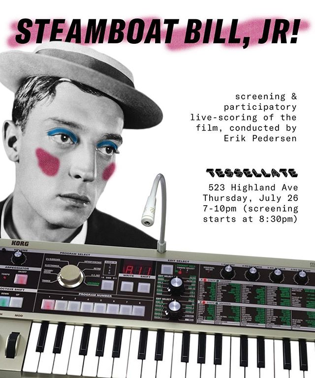 BYO DRINKS & INSTRUMENTS: this Thursday, our third summer resident, Erik Pedersen, will be live-scoring the silent film STEAMBOAT BILL, JR. (1928), starring Buster Keaton. The gallery will be full of instruments and other noise-making objects to strum, bang on, and manipulate. Audience participation is encouraged! • @basementlivin #erikpedersen #tessellategallery #summerresidency #pontiacmichigan #detroitart #livescore #experimentalmusic #noise #soundart #improvisation #collaboration #performance #busterkeaton #silentfilm #comedy
