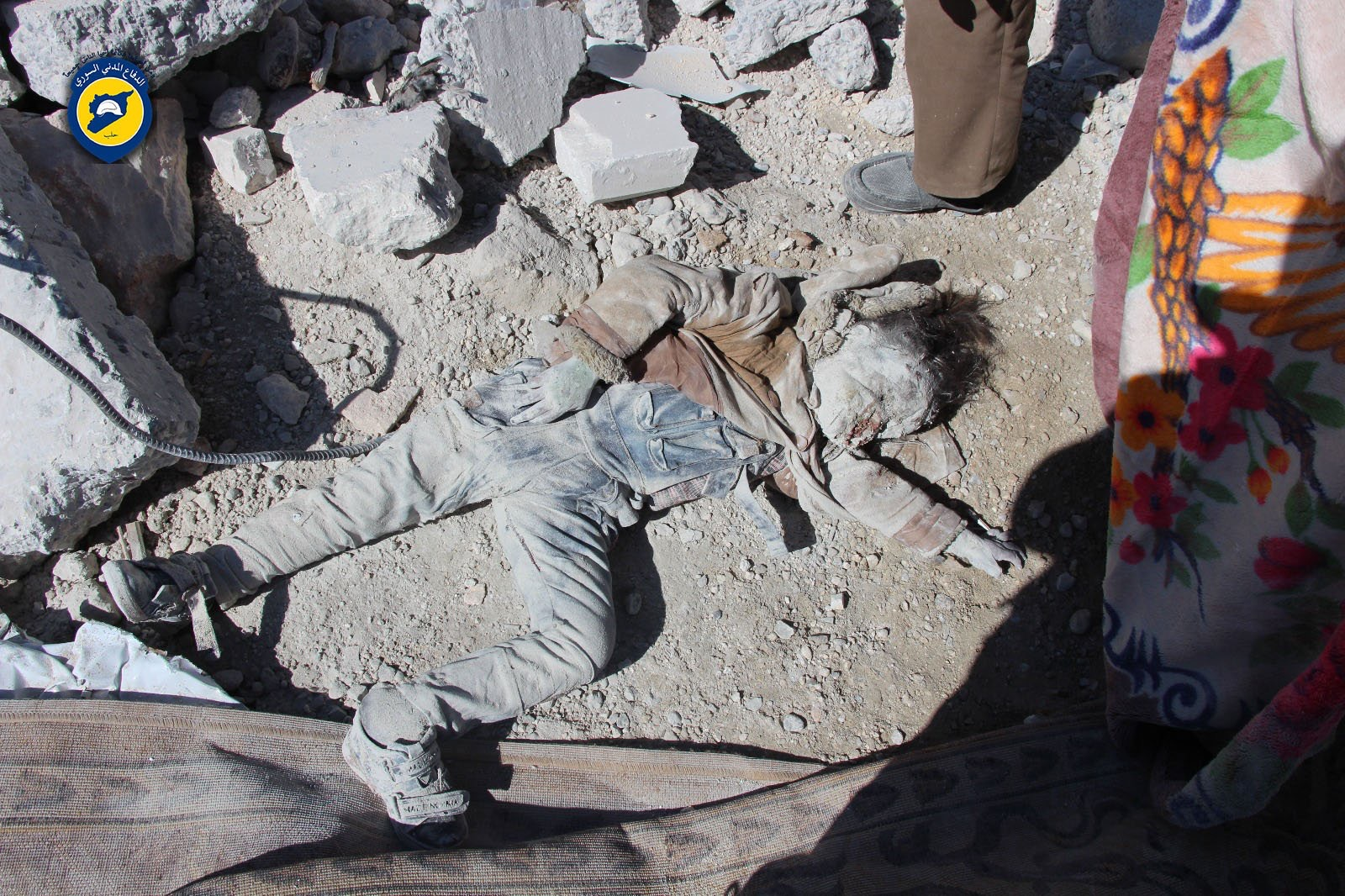 Child murdered by a bomb attack in Syria.