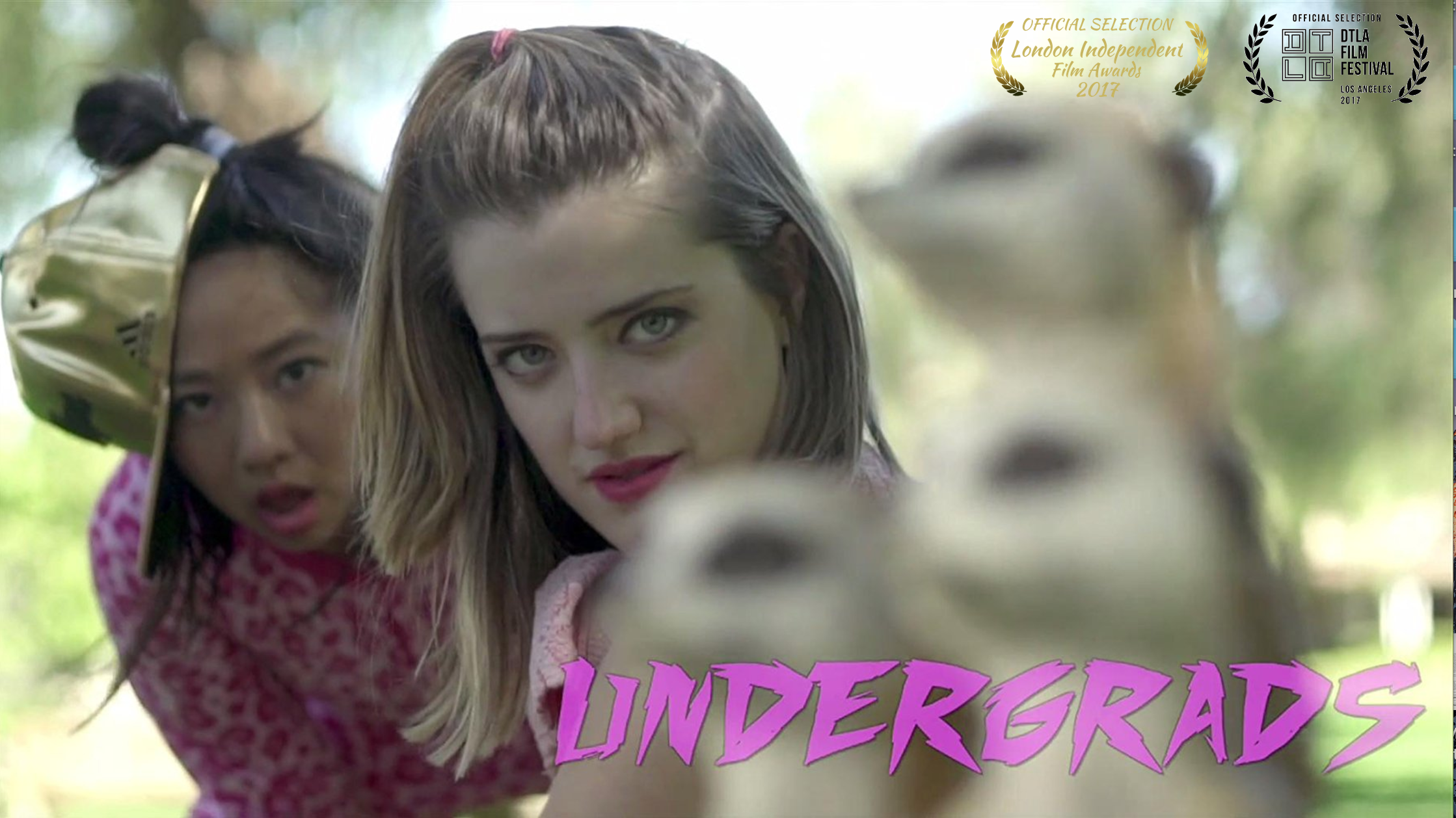 UNDERGRADS (TV Pilot)  - A half hour comedy series about two besties, Lilly and Rae, who struggle their way through college and learn to #adult while living with their two worst frenemies. Its their first day in the apartment and they must find a way to catch up on all of the summers TV, but buying cable is out of the question. So they must go on a journey to beg, borrow or steal their friends streaming services. UNDERGRADS is premiering at the DTLA Film Festival  on September 24, 2017