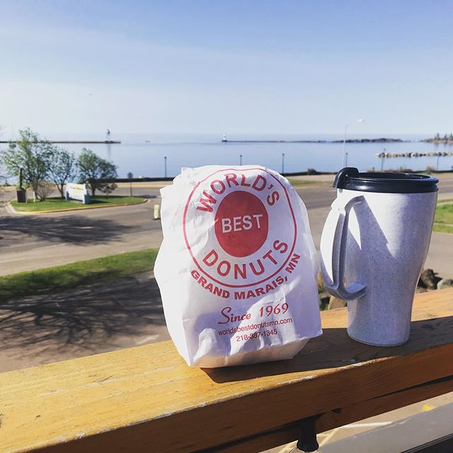 Good morning Grand Marais! #basecampnorthshore #donorthmn #worldsbestdonuts