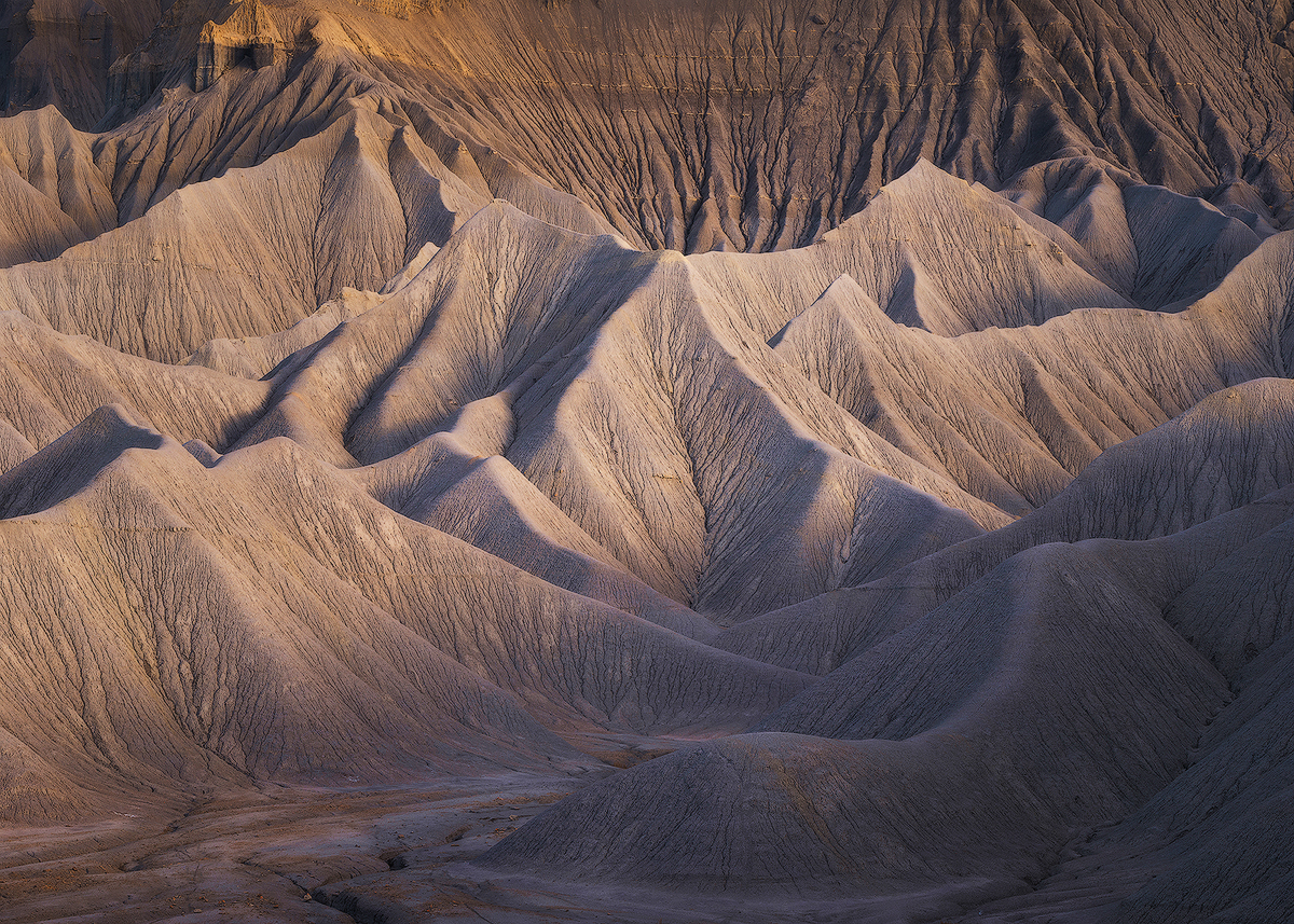 """Silent Sea"" -- erosion at work along the North Caineville mesa.   Nikon D800e, Nikon 70-200mm f/4 @ 112mm"
