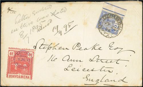 Cover (4d rose British Mail stamp), dated 1895 (9 July), sent to Leicester cancelled by a strike of 'BRITISH MAIL ANTANARIVO' in violet, with Natal 1891 2 ½d bright blue tied by a Durban (30 July). The reverse has an arrival date stamp of 26 August. This sold for £650.