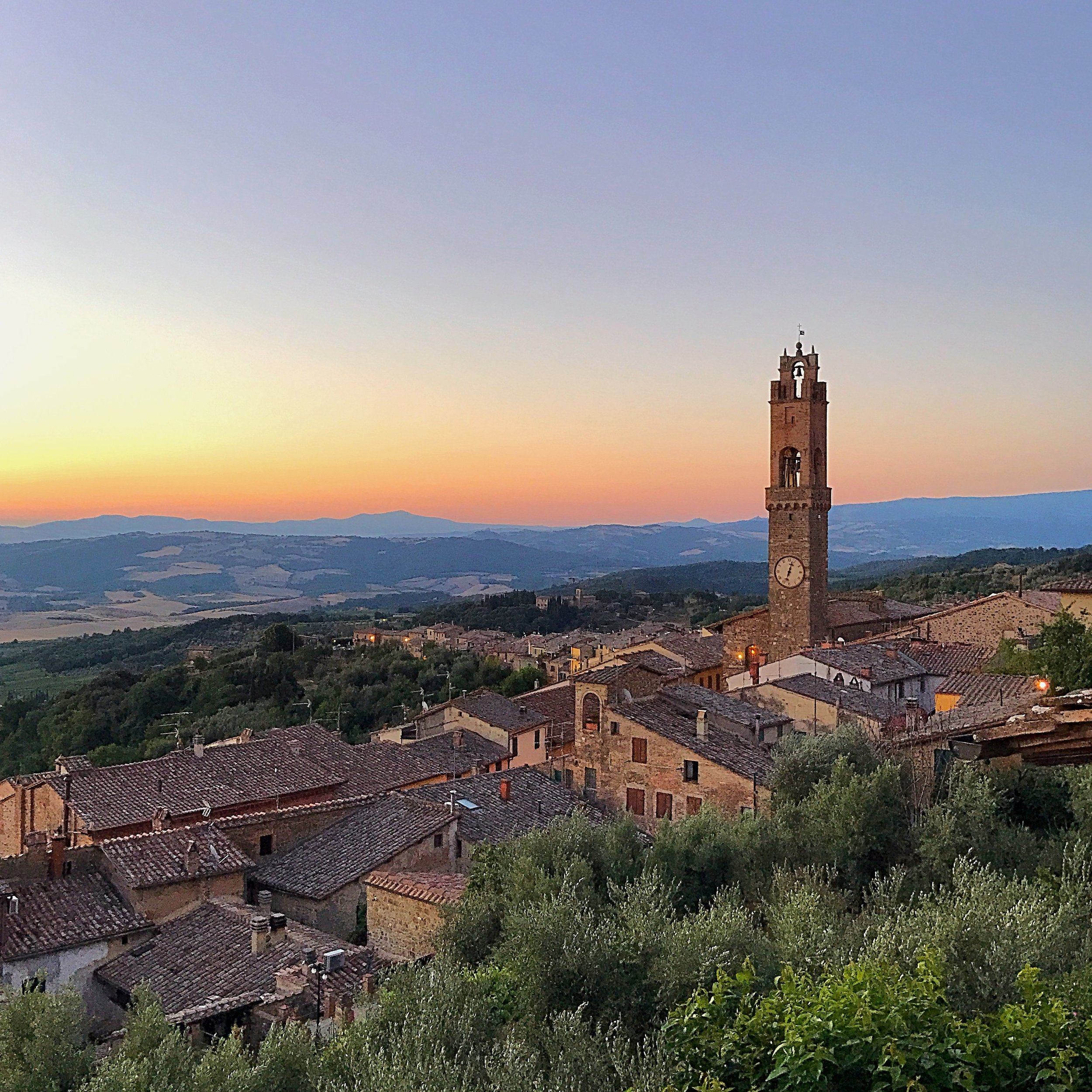 Tuscany sunrise from the town of Montalcino.