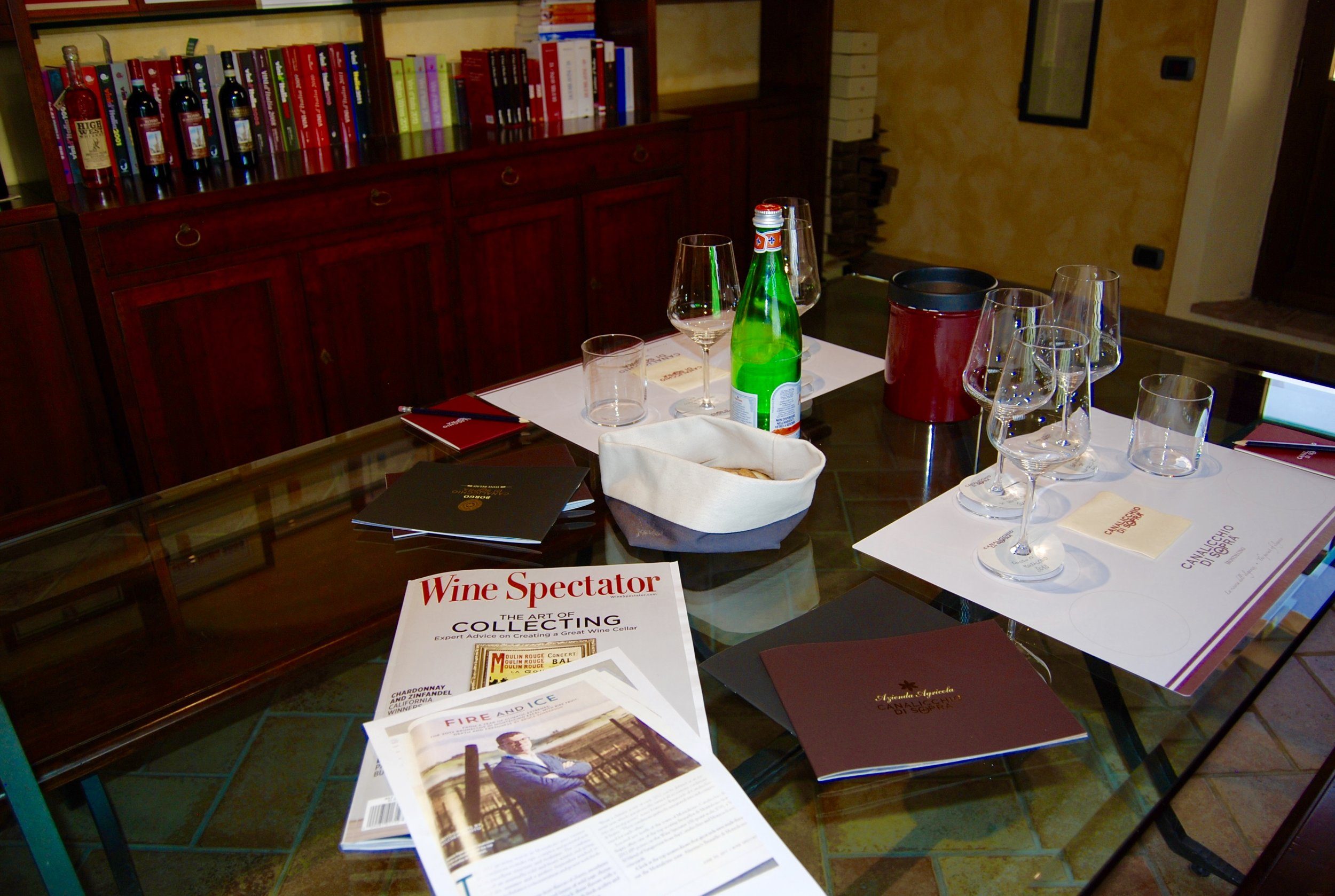 The tasting room at Canalicchio di Sopra, a winery with wines that score high and are featured in Wine Spectator.