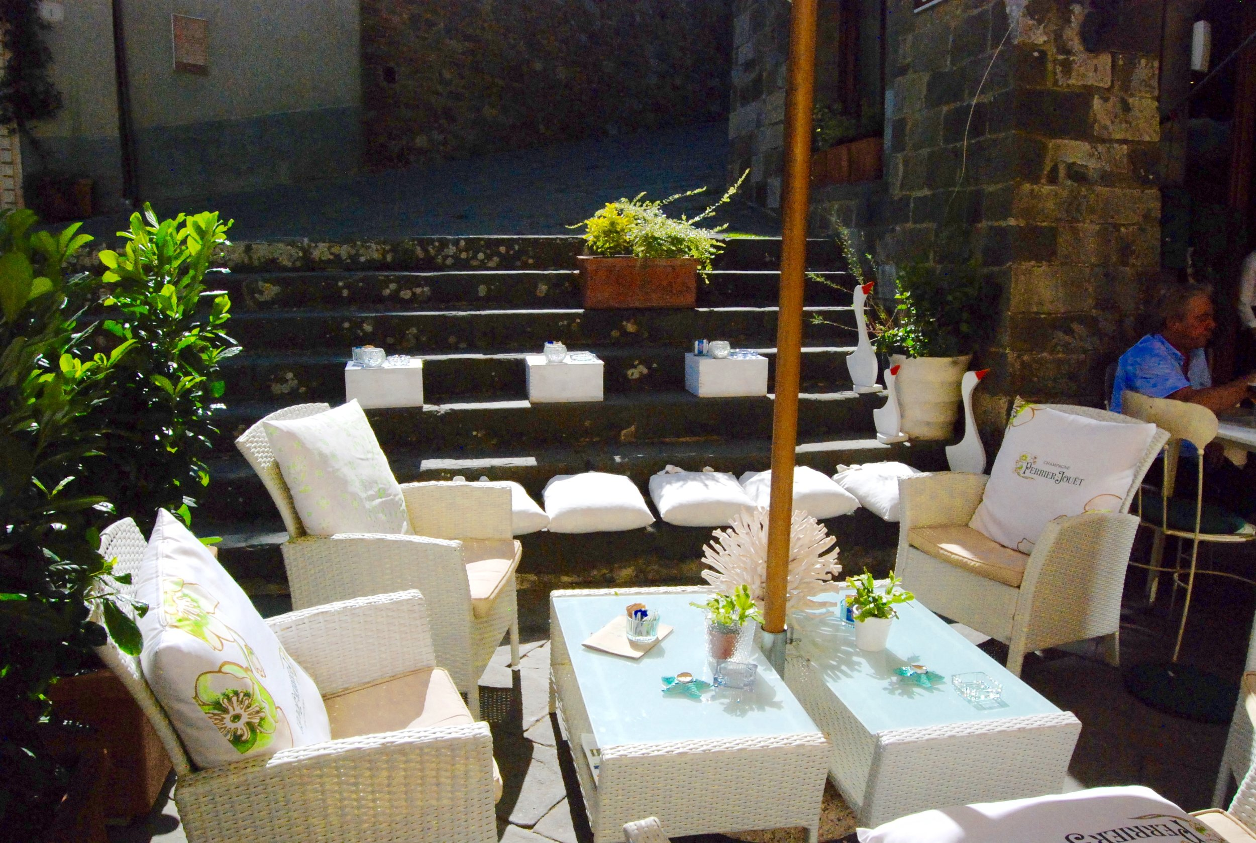 One of the many cozy cafes in downtown Montalcino, Italy.