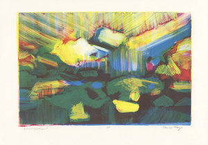 "Activated Landscape   $100  Monotype on BFK  11"" x 16""  201"