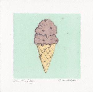 "Chocolate Fudge $20   Monotype and Pencil  5"" x 5""  2017"