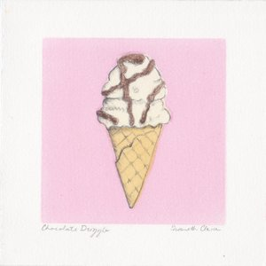 """Chocolate Drizzle $20   Monotype and Pencil  5"""" x 5""""  2017"""
