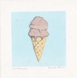 "Just Chocolate $20   Monotype and Pencil  5"" x 5""  2017"