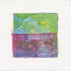"CMYK test 6 $10   Monotype  4"" x 4""  2017"