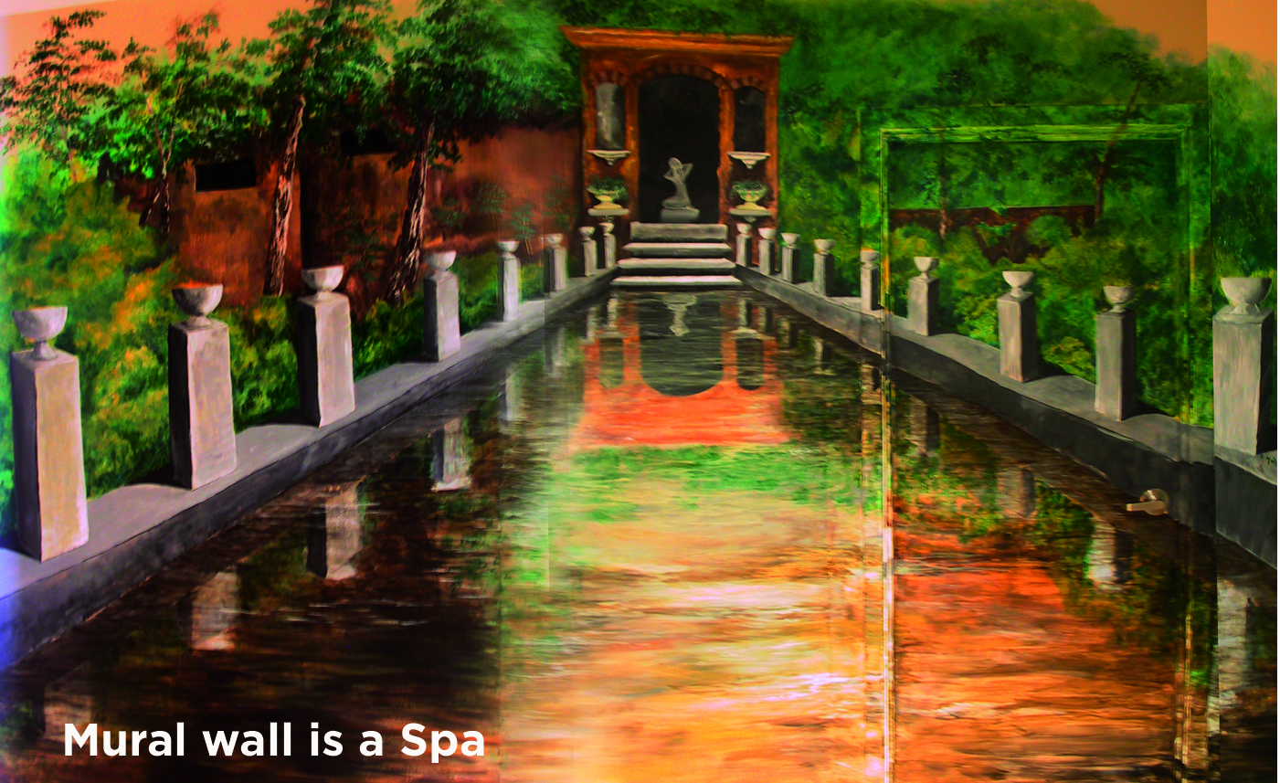 wall mural in a spa... can you find the door?