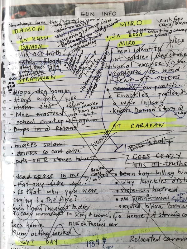 This page shows the planning of when Damon goes to stay at the Miro's place. I cross out each event as I cover it.