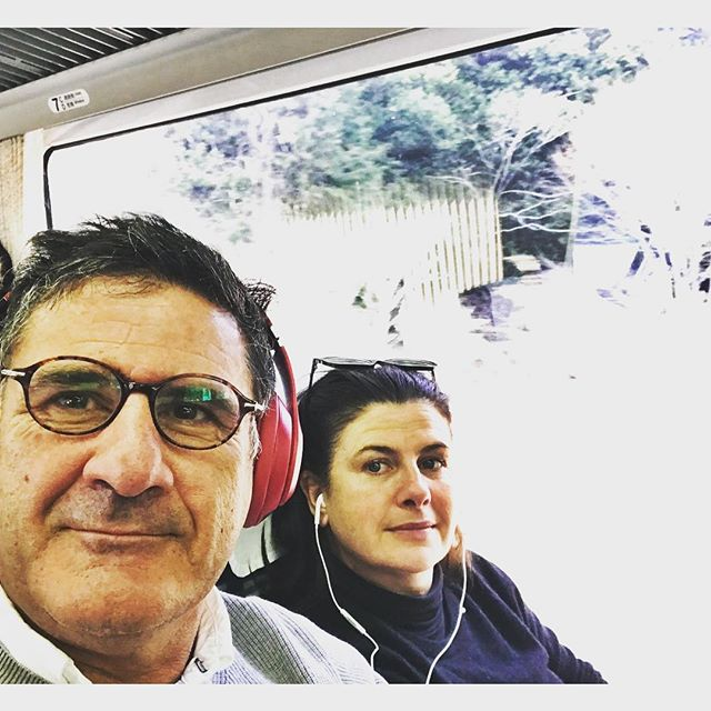 On our way to the Japanese Alps  on the bullet train. #bobdylan #raylamontagne  Guess who's listening to who #music #traintravel #views
