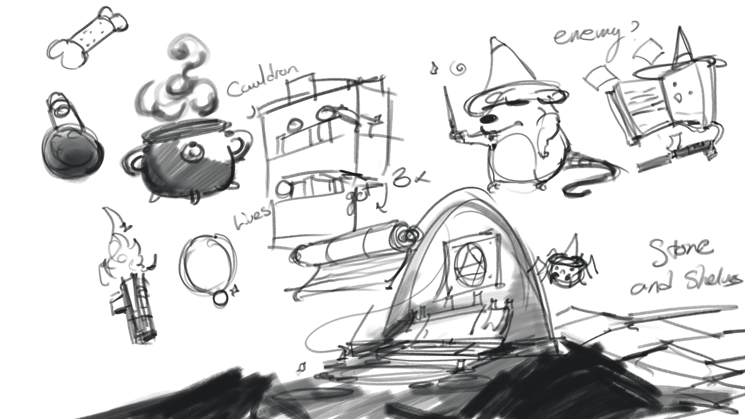 Sketches for props and locations
