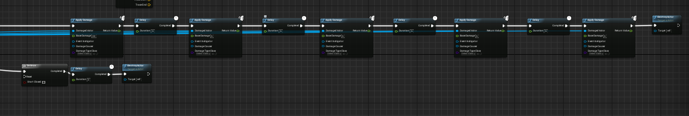 this is showing in the projectile blueprint using the apply damage function in UE4. over the course of 3 seconds. the initial hit is 20 damage out of 100, and for the next 2 seconds it will deal 2.5 damage every.5 seconds