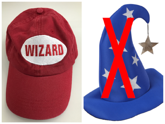 "When we say ""wizard hat"", we mean the super sexy red hat shown on the left, not the ridiculous one on the right. Do you know how silly we'd look running around in the desert wearing pointy hats?"