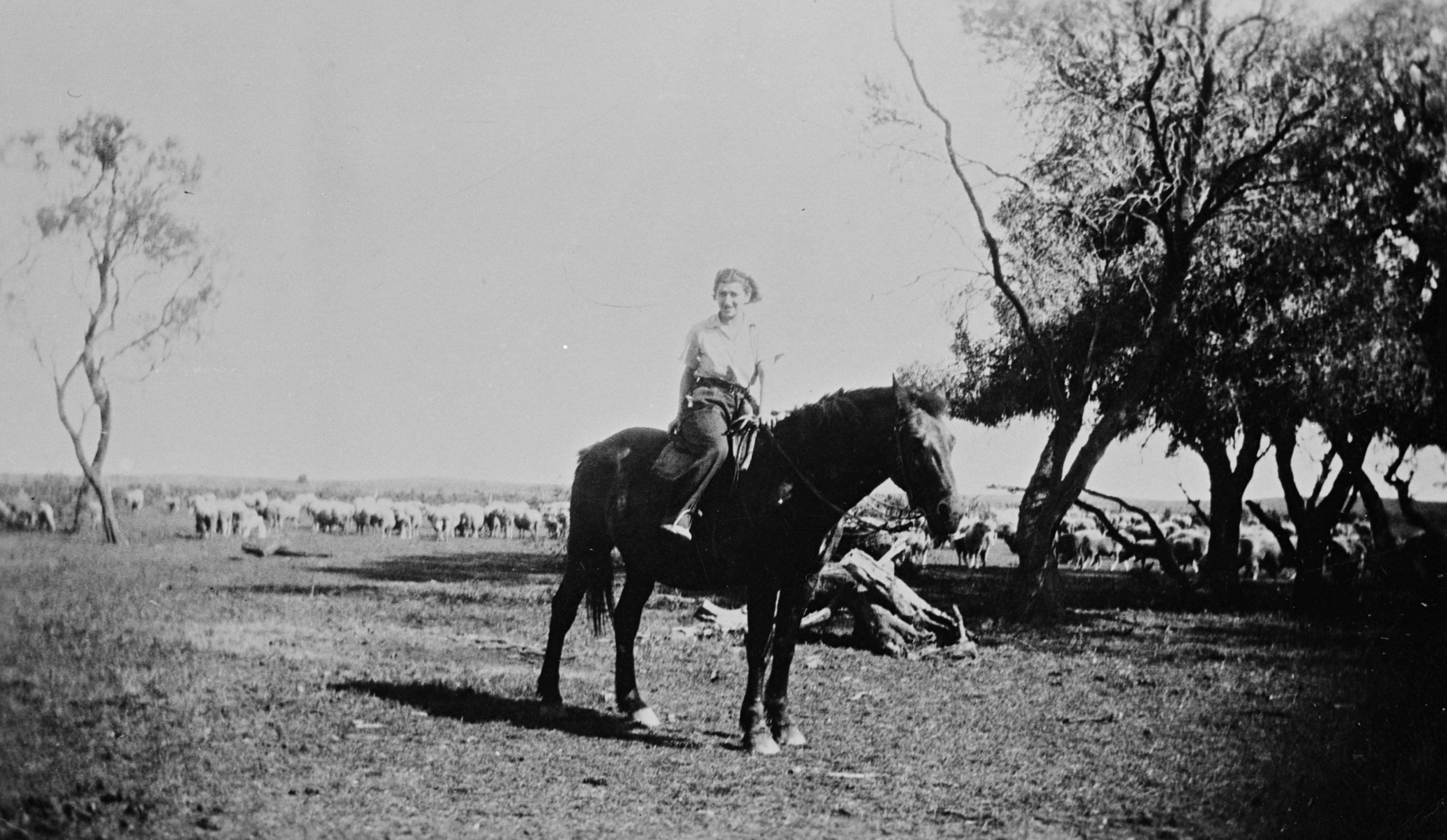 Woman Riding Horse , Agriculture, Victoria, 1931: The Biggest Family Album in Australia, Source: Museums Victoria, Photographer: Unknown.