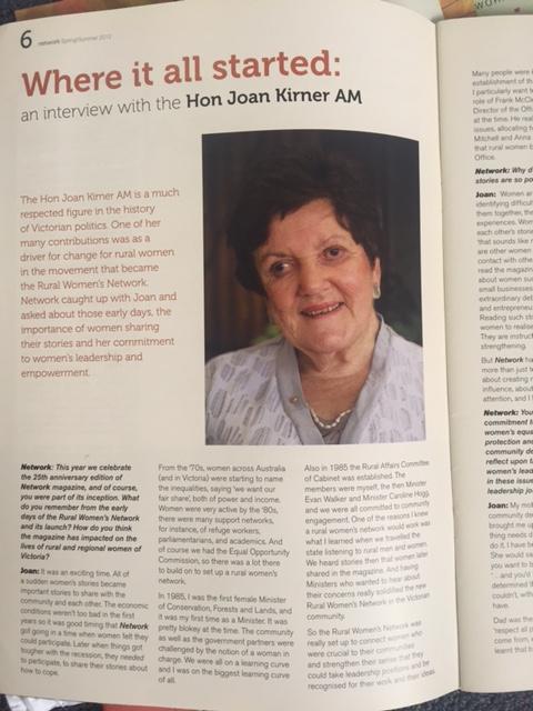 The Hon. Joan Kirner featured in RWN Network Newsletter