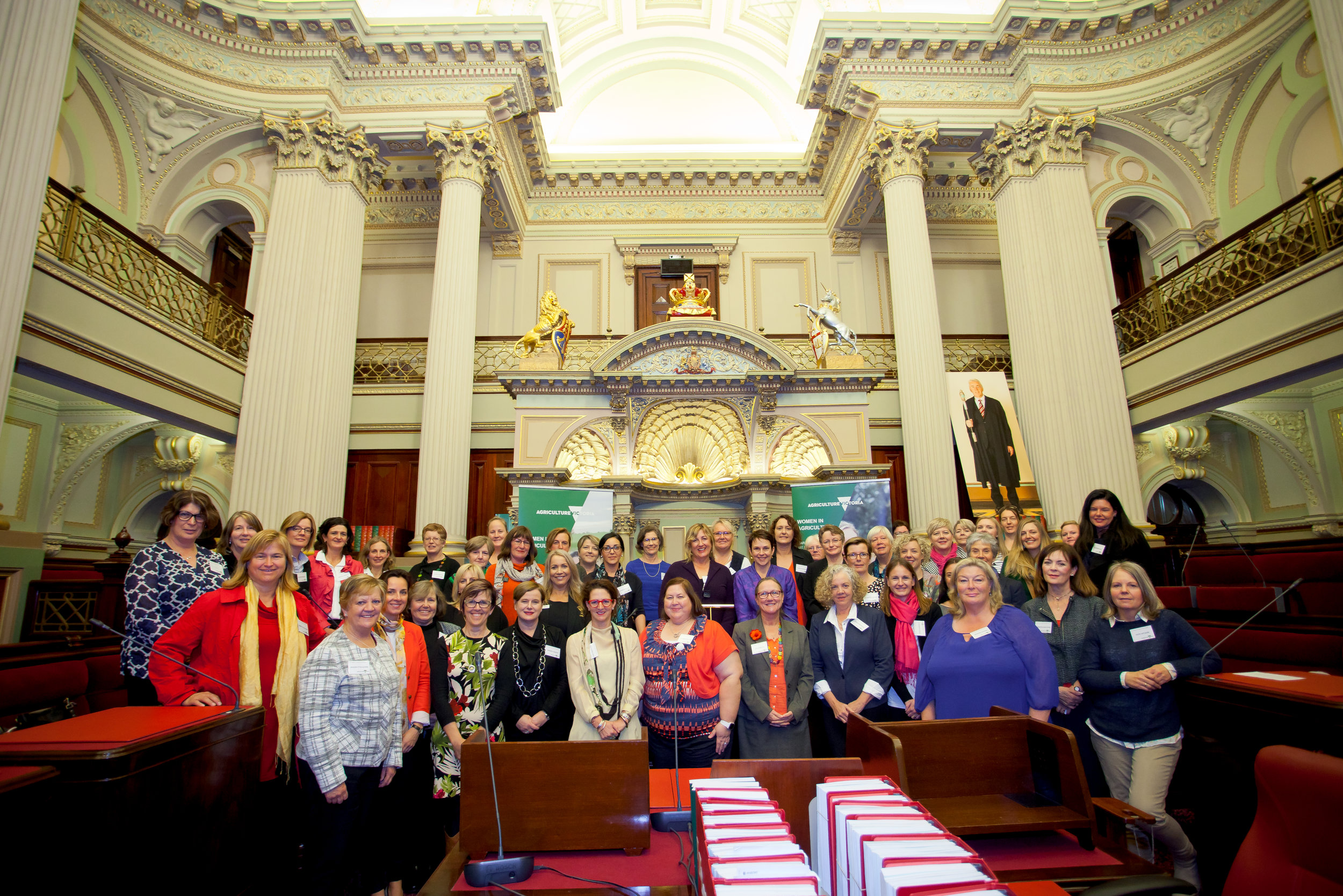 Women gathered at the Women in Agricutlure forum held at Parliament House, Melbourne, 2017