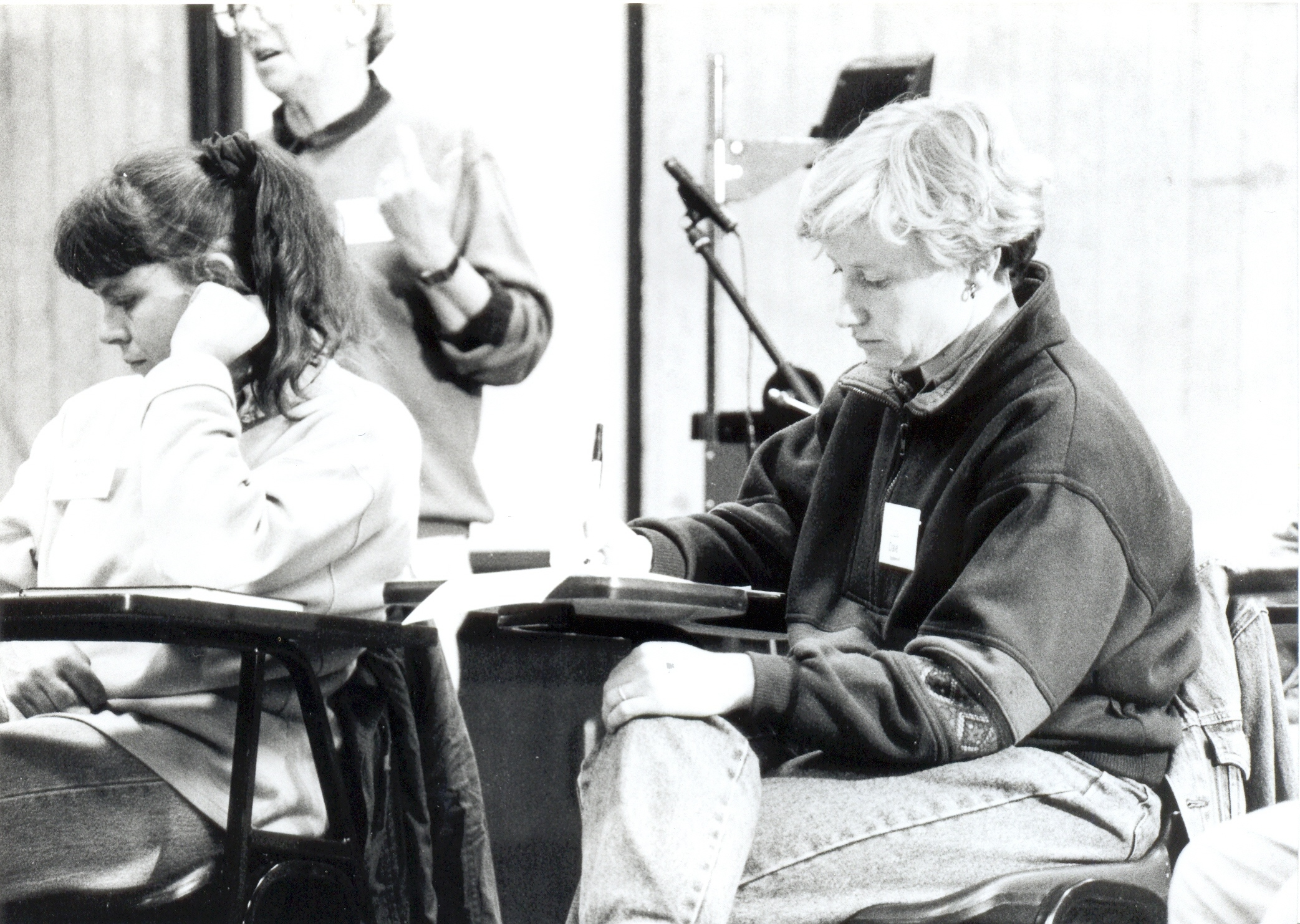 Liza Dale-Hallett at a workshop, Women on Farms Gathering at Glenormiston, 1994, Source: Museums Victoria,MM90502