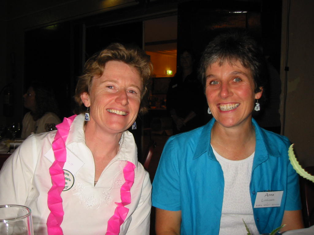 Liza Dale-Hallett (left) with Anna Lottkowitz (right), who developed the Rural Women's Network in 1986 and is now a partner of the Invisible Farmer Project, at the Women on Farms Gathering at Horsham, 2004, Source: Museums Victoria, MM90830
