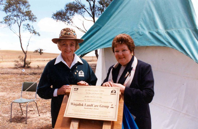Heather Mitchell with Joan Kirner at the 10th Anniversary of Landcare, Winjallock, Victoria, 1996, Source: North Central News, St Arnaud.